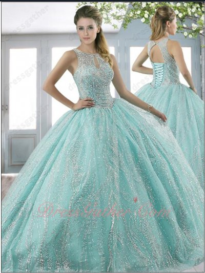 Vivacious Sparkling Wave Stripes Lace Ice Blue Quinceanera Gowns Vestido de