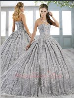 Beaded Sweetheart Bodice Sparkling Wave Lace Silver Quinceanera Ball Gown Little Train