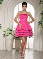 Nifty Hot Pink Organza Black Border Decorate 4 Layers Skirt Girl Ceremonial Dress Prom