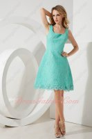 Square Mint/Apple Green Flat High Quality Lace A-line Mum/Mother Prom Evening Dress