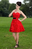 Scarlet Red Multi Layers Chiffon Short Prom Event Dress With Black Sash