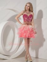 Fit and Flare Dropped Shiny Sequin/Tulle Layers Colorful Tutu Short Prom Dress Cheap