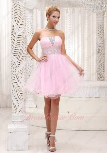 Endearing Strapless Empire A-line Baby Pink Mini Stage Night Club Prom Dress Wholesale