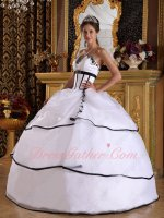V Cut-out Strapless Pure White La Femme Quinceanera Dress Black Bordure