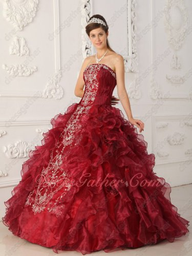 Online Shop Strapless Open Ruffles Burgundy Quinceanera Gown Silver Embroidery