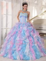 Bright Baby Blue/Pink/Off White Ruffles Military Court Ball Gown Colorful