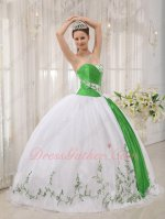 White Dress With Spring Green Embroidery/Ribbon Quinceanera Gown Princess
