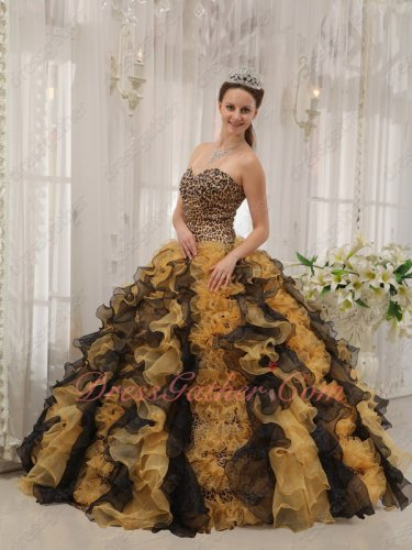 Leopard/Gold Yellow/Black Mingled Ruffles Quinceanera Ball Gown Military
