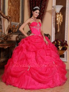 Deep Coral Organza Sweetheart Puffy Quinceanera Ball Gown Full Fishbone Bodice