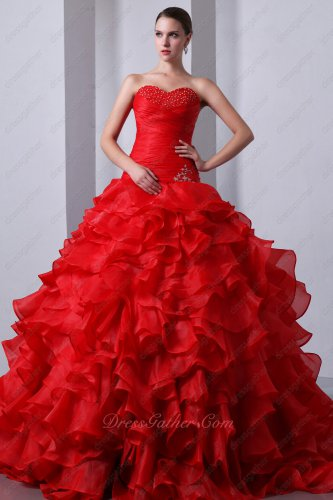 Sweetheart Red Ruffles Allure Quinceanera Gown Dress With Underskirt Make Fluffy