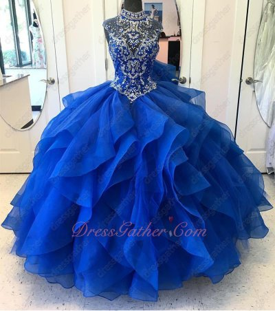 High Neck Modest Royal Blue Layers Waterfall Ruffles Horsehair Fotos De Quinceanera