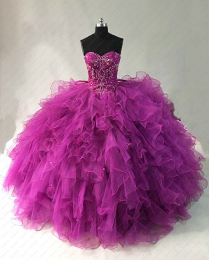 Magenta Bright Purple Sweetheart Tulle Ruffles Quinceanera Gown Designer New Style 2019