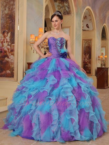 Top Seller Ruffles Aqua and Mauve Puffy Skirt Custom Made Quinceanera Prom Gown