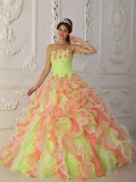 Watermelon/Yellow Green/Off White Multi-Color Mixed Ruffles Fairies Quinceanera Dress