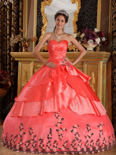 Watermelon Crossed Layers Skirt Applique Bottom Quinceanera Dress Elegant