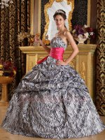 Vintage Printed Zebra Fabric Puffy Quinceanera Ball Gown With Hot Pink Sash