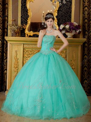 Flattering Plain Organza Quinceanera Ball Gown Mint Apple Green Silver Embroidery