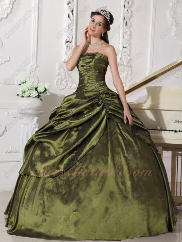 Olive Green Quality Polyester Boning Sweet 16 Party Quince Dress Side Oblique Pick Up