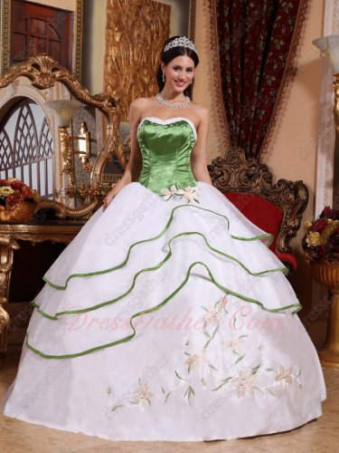 Discount Vestido De Dust Green Corset Layers White Puffy Ball Gone