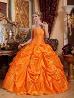 Flamboyant Bright Orange Taffeta Full Pick Up Skirt Quinceanera Ball Gown Pub