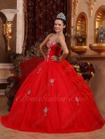 Scarlet Girls Birthday Quinceanera Gown Flat Tulle Front Bubble Organza/Ruffles Back