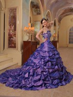Shopping Online Strapless Amethyst Taffeta Lady Quinceanera Dress With Train