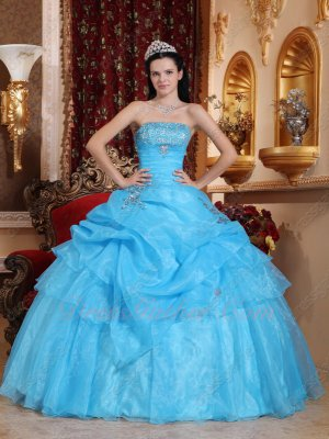 Aqua Blue Adult Ceremony Allure Quinceanera Sweet 16 Ball Gown Direct Marketing