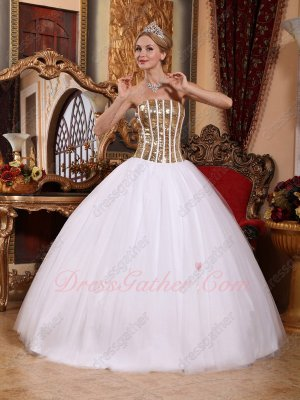 Sparkling Gold Sequin With White Lines Bodice Quinceanera Ball Gown Plain Tulle Skirt