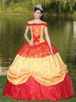 Off Shoulder Gold and Red Victoria Palace Style Quinceanera Dress Lolita