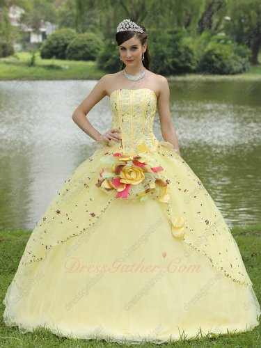 Daffodil Tulle Fluffy Graduation Ceremony Performance Quince Ball Gown With Slip