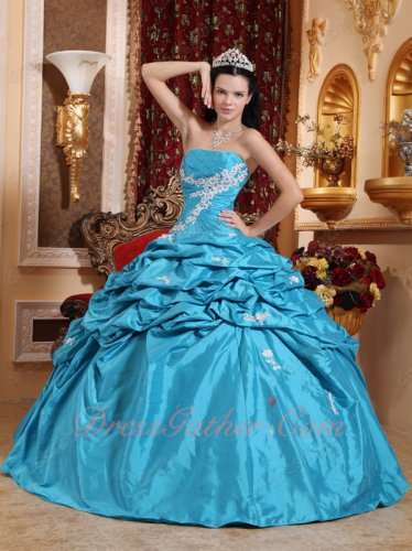 Strapless Aqua Blue Half Bubble Skirt Quinceanera Gown For Girl Wear