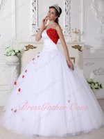 Lily Pure White Princess Puffy White Mesh Quinceanera Dress With Scarlet Details
