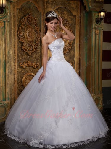 White Multilayer Mesh Floor Length Quinceanera Ball Gown Lacework Factory Direct Sale