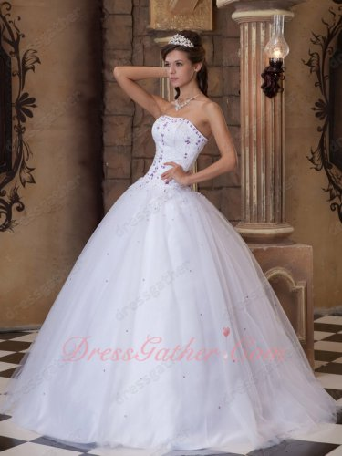 Strapless Corset Natural Waist Pure White Quinceanera Dress With Pure Embroidery