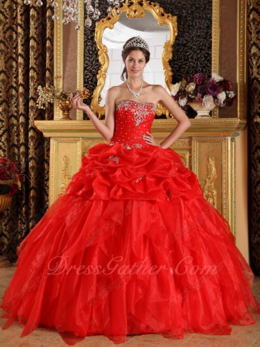 Stage Opera Applique Custom Make Red Quinceanera Dress Wholesale Price