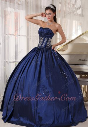 Simple Navy Blue Taffeta Ball Dress For Military Party North California