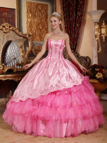 Pink Bodice Coverage/Rose Pink Details Ruffles Lolita Quinceanera Gown Cute
