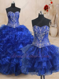 Detachable Embroidery Bodice/Mini/Floor Length Skirt 3 Pieces Quinceanera Gown Queen