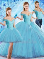Off Shoulder Ice Blue Tulle Sweep Train Quinceanera Ball Gown 3 Pieces Detachable