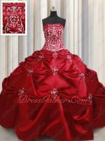 Classical Dark Red Satin Country Style Quinceanera Gown Silver Handwork Embroidery