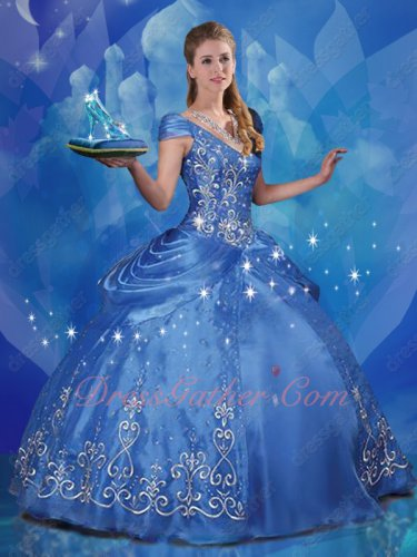 Cinderella Style Western Embroidery Princess Quinceanera Prom Ball Gown Not Expensive