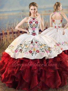Flowers and Leaves Embroidery White & Dark Wine Red Ruffles Ball Gown Western Village