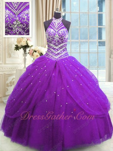Regency Halter Bright Regency Puffy Tulle Quinceanera Ball Gown Sweet 16 Ceremony