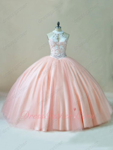 Off-White and Blush Tulle Combination Popular Quinceanera C'est Quoi Ball Gown