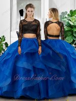 Black Lace Long Sleeves Lace Bodice Royal Blue Horsehair Ruffles Two Pieces Ball Gown