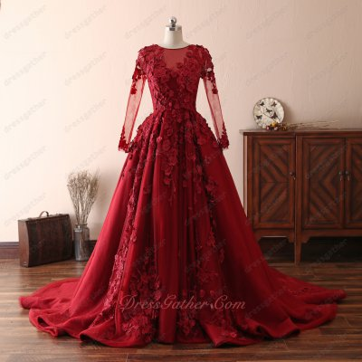2019 Fairyland Sheer Scoop Long Sleeves 3D Flowers Chapel Train Formal Evening Dress
