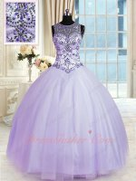 Dropped V Waist Silver Crystals Lavender Blouse Quinceanera Ball Gown By Tulle