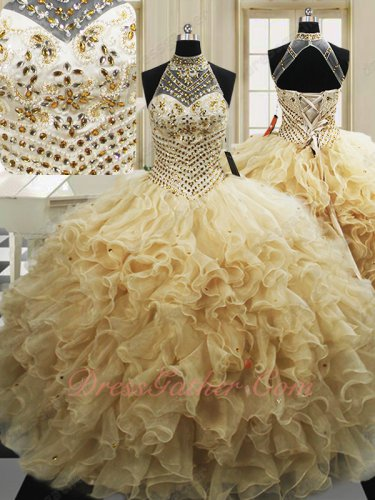 Halter Champagne Organza Wave Ruffles Quinceanera Court Military Ball Gown Princess