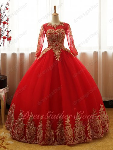 Gold Pineapple Applique Embellish Sheer Scoop Long Sleeves Red Quinceanera Dress
