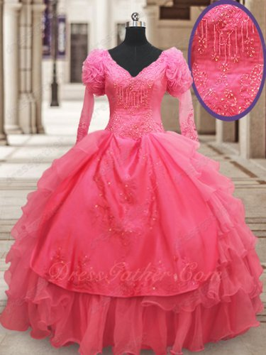 Modest Long Bubble Sleeves Coral Organza European Court Religious Ball Gown Cold Wear
